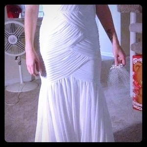 Wedding dress and veil.